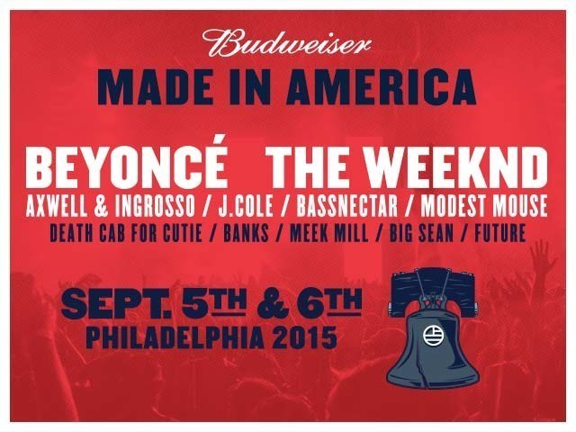 BEYONCE AND THE WEEKND TO HEADLINE 2015 BUDWEISER MADE IN AMERICA FESTIVAL (PRNewsFoto/Live Nation Entertainment)